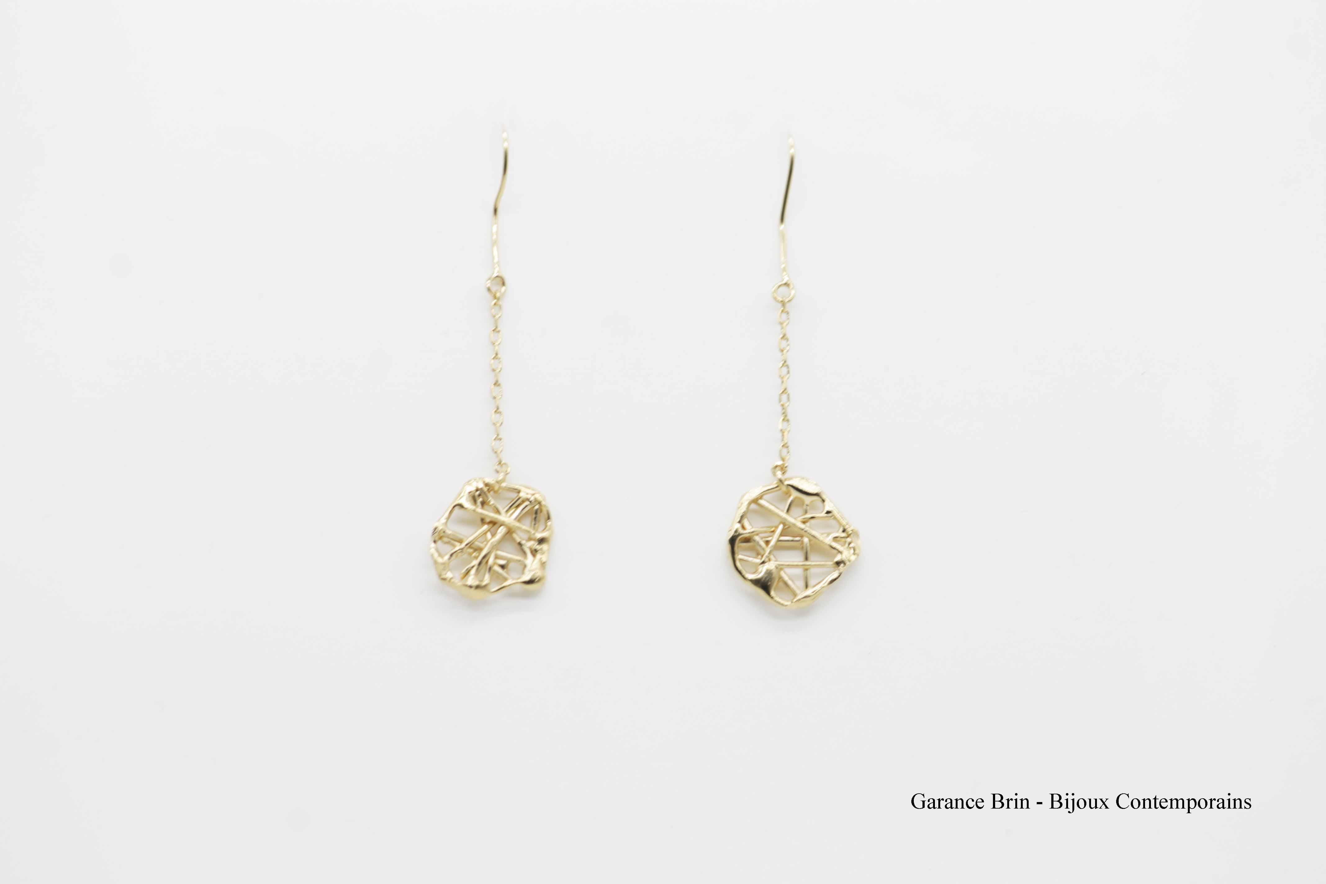 """Boucles d'oreilles """" Pastille brut de toile"""" - bronze plaqué or Garance BRIN Bijoux contemporains"""