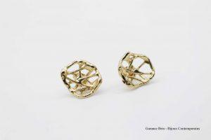 """Boucles d'oreilles """" Petite coupelle brut de toile"""" - bronze plaqué or Garance BRIN Bijoux contemporains"""
