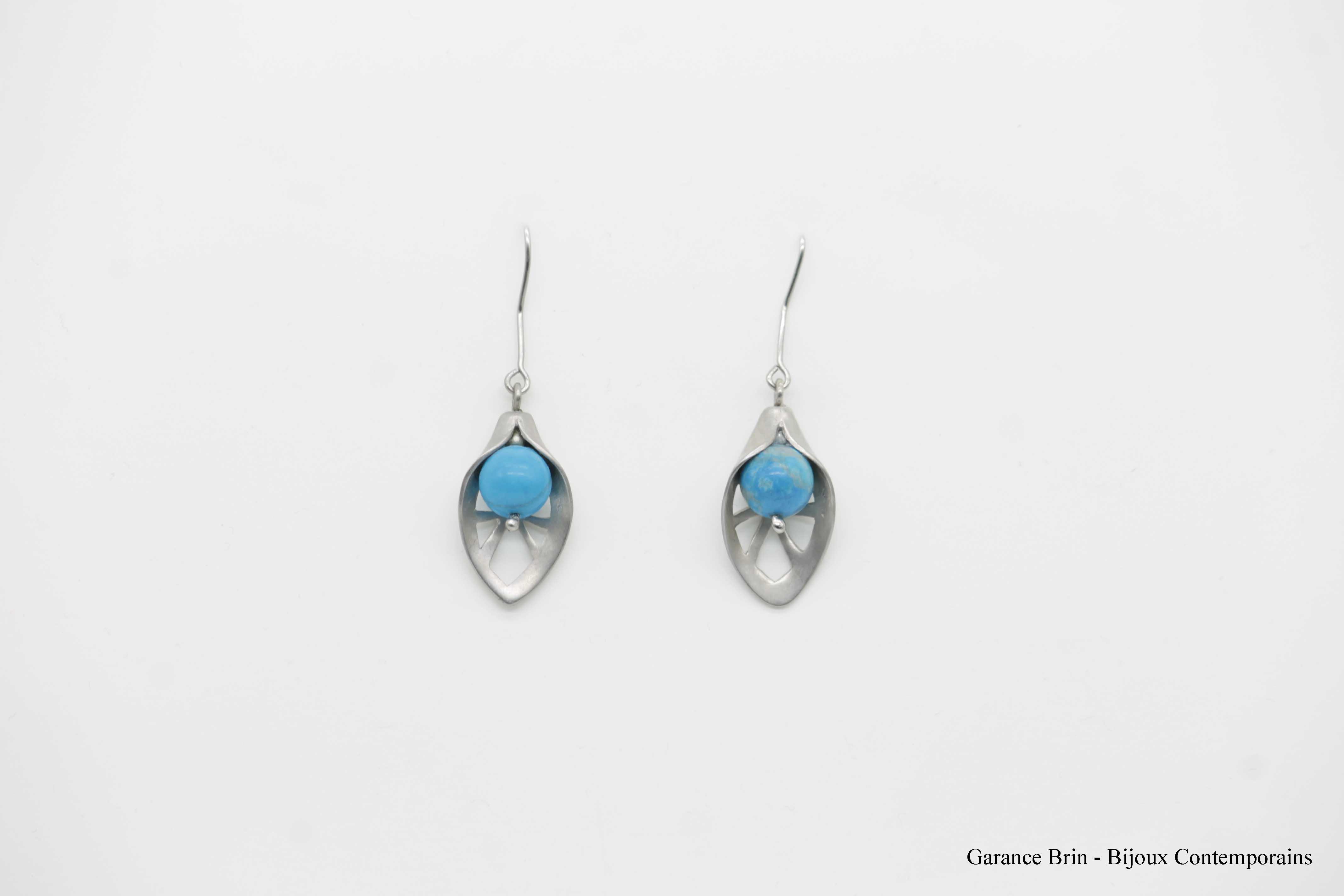 Boucles d'oreilles feuille de toile - turquoise, Argent Bijoux contemporains Garance BRIN