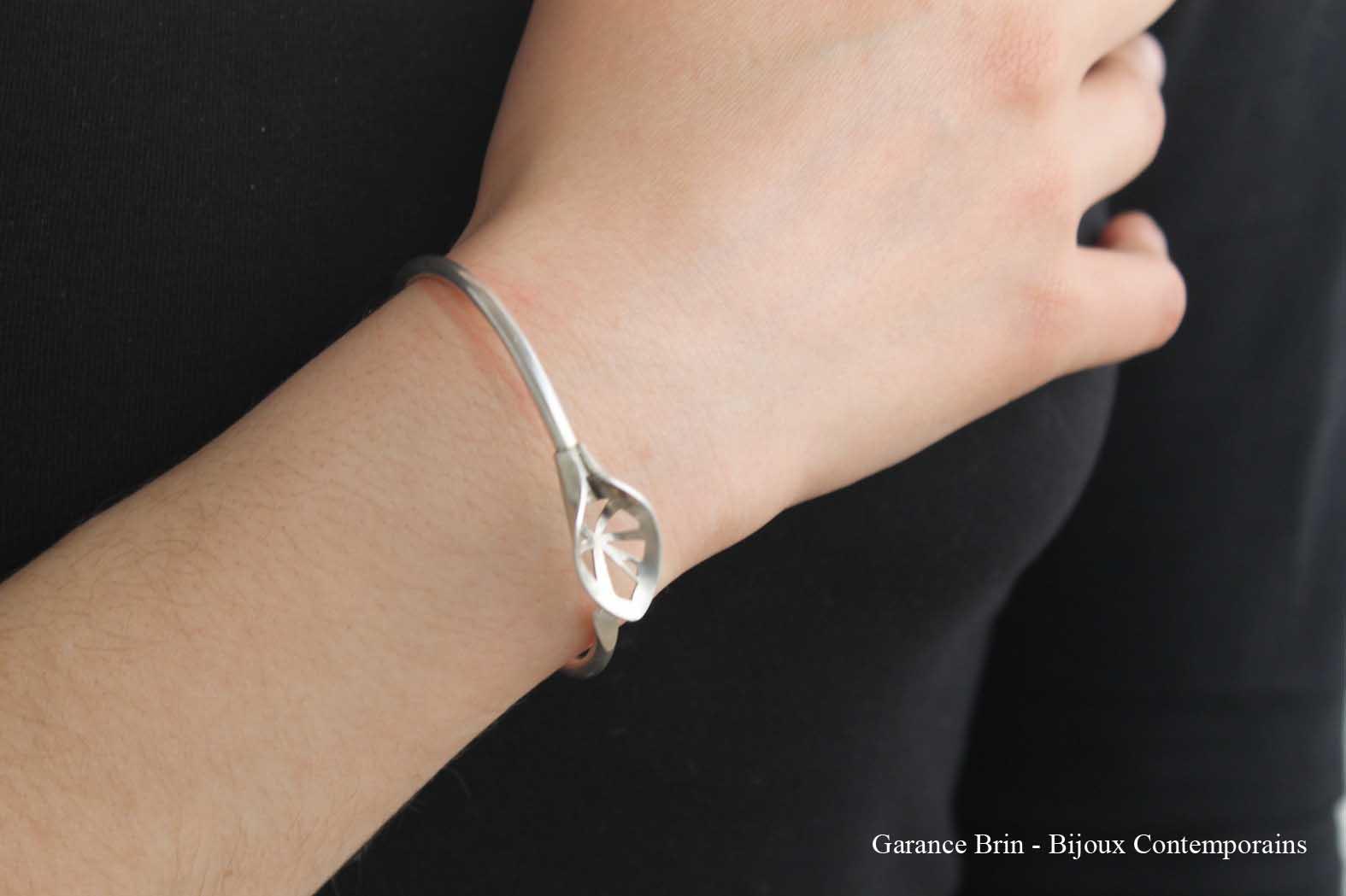 Bracelet feuille de toile - Argent Bijoux Contemporains Garance BRIN