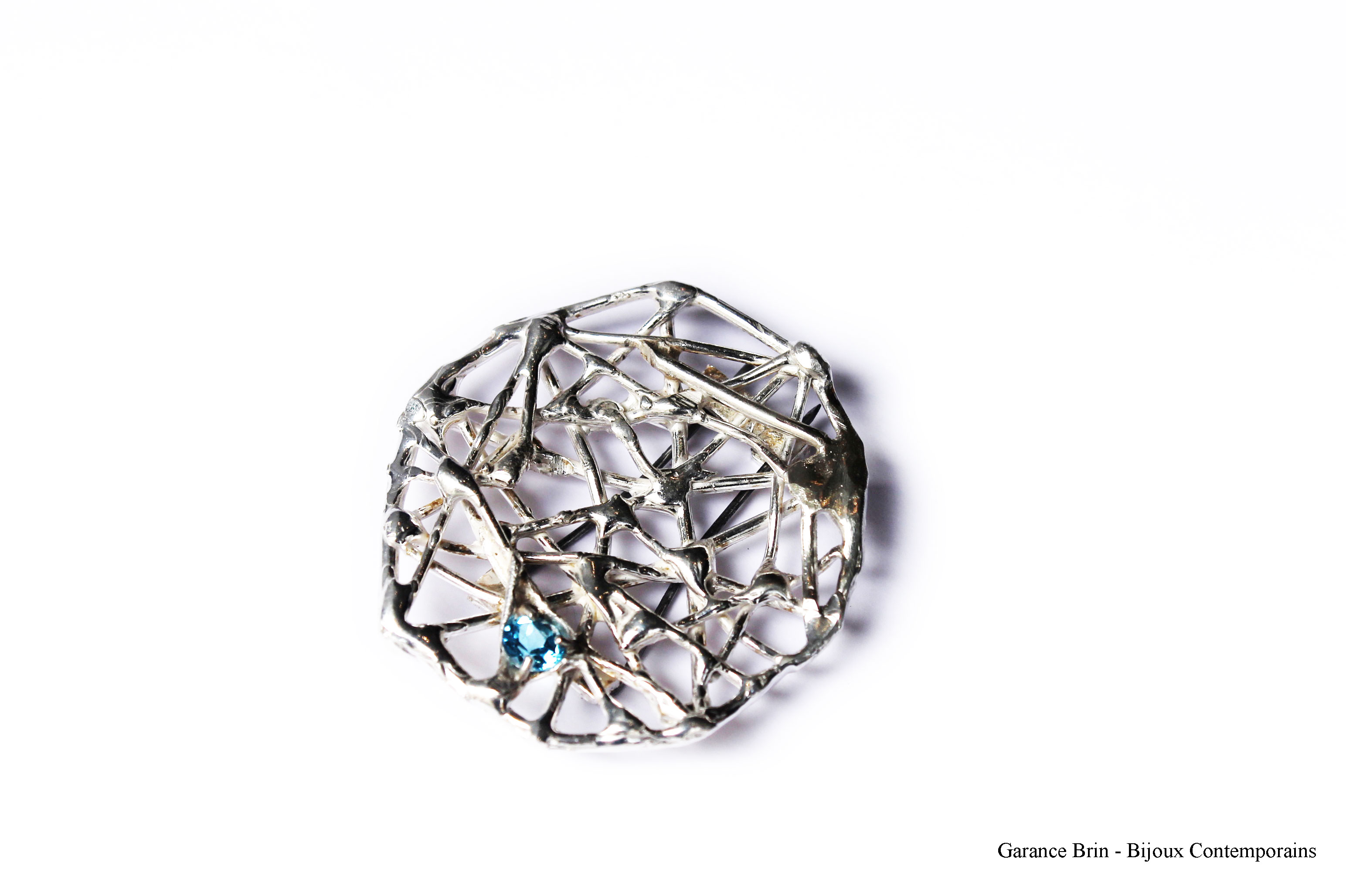 Broche brut joaillerie - argent, topaze Bijoux contemporains Garance BRIN