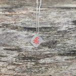 Pendentif toile d'émail 1 rouge - argent et émail Garance BRIN Bijoux contemporains