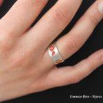 Bague toile émail rouge - argent et émail Garance Brin Bijoux contemporains